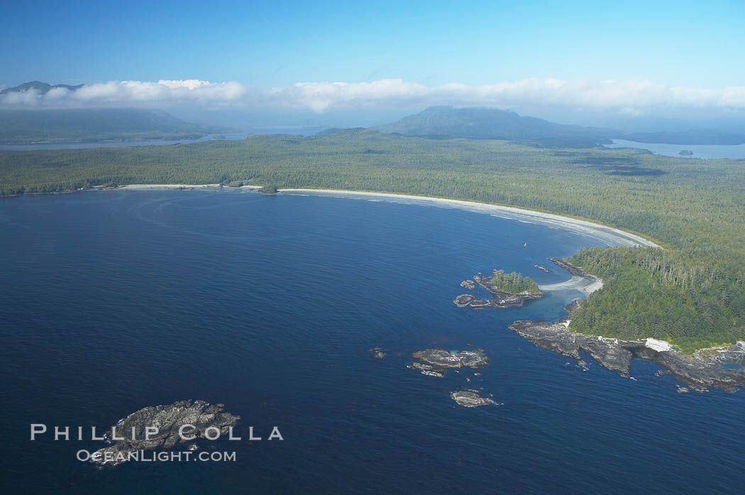 Ahouse Bay and Vargas Island, aerial photo, Clayoquot Sound in the foreground, near Tofino on the west coast of Vancouver Island. Tofino, British Columbia, Canada, natural history stock photograph, photo id 21068