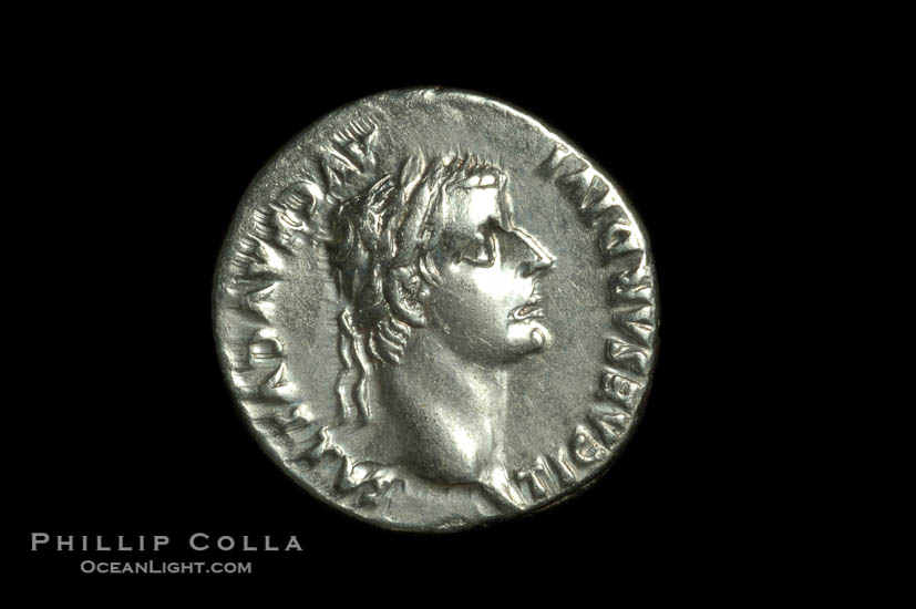 An original tribute penny.  Roman emperor Tiberius (14-37 A.D.), depicted on ancient Roman coin (silver, denom/type: Denarius) (AR, Denarius Obverse: Bust right TI CEASAR DIVI AVG F AVGVSTVS. Reverse: Livia seated right, holding olive branch, ornate legs on chair. PONTIF MAXIM. Tribute penny. Sear 567.)