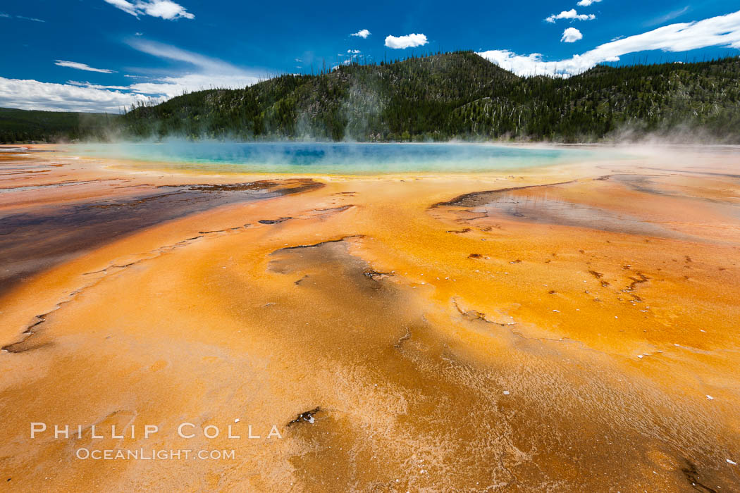 Bacteria mats and Grand Prismatic Spring.  The orange color is due to bacteria which thrive only on the cooler fringes of the hot spring, while the hotter center of the spring hosts blue-colored bacteria. Midway Geyser Basin, Yellowstone National Park, Wyoming, USA, natural history stock photograph, photo id 26954