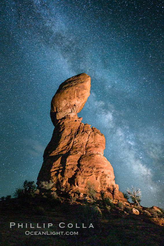 Balanced Rock and Milky Way stars at night. Balanced Rock, Arches National Park, Utah, USA, natural history stock photograph, photo id 27835