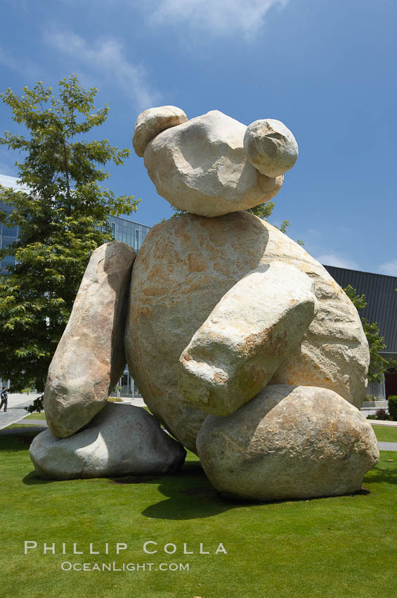 Bear is another of the odd outdoor art pieces of the UCSD Stuart Collection.  Created by Tim Hawkinson in 2001 of eight large stones, it sits in the courtyard of the UCSD Jacobs School of Engineering.,  Copyright Phillip Colla, image #20851, all rights reserved worldwide.