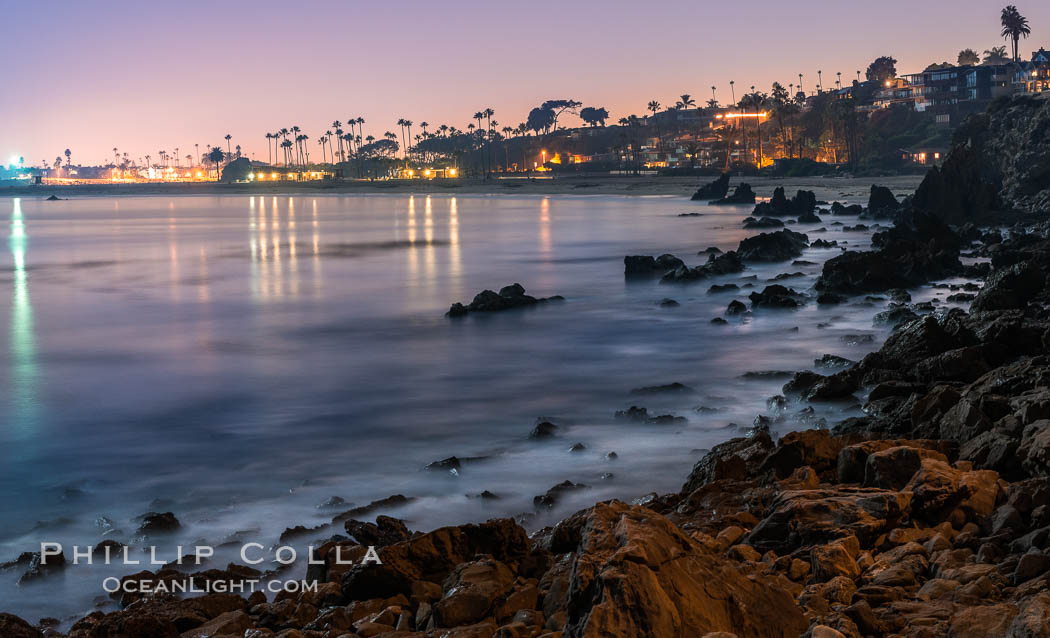 Big Corona Beach, aka Corona del Mar State Beach, at night lit by full moon, Newport Beach