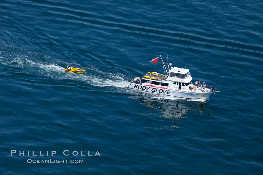 Body Glove boat motoring over the ocean. Redondo Beach, California, USA, natural history stock photograph, photo id 26033