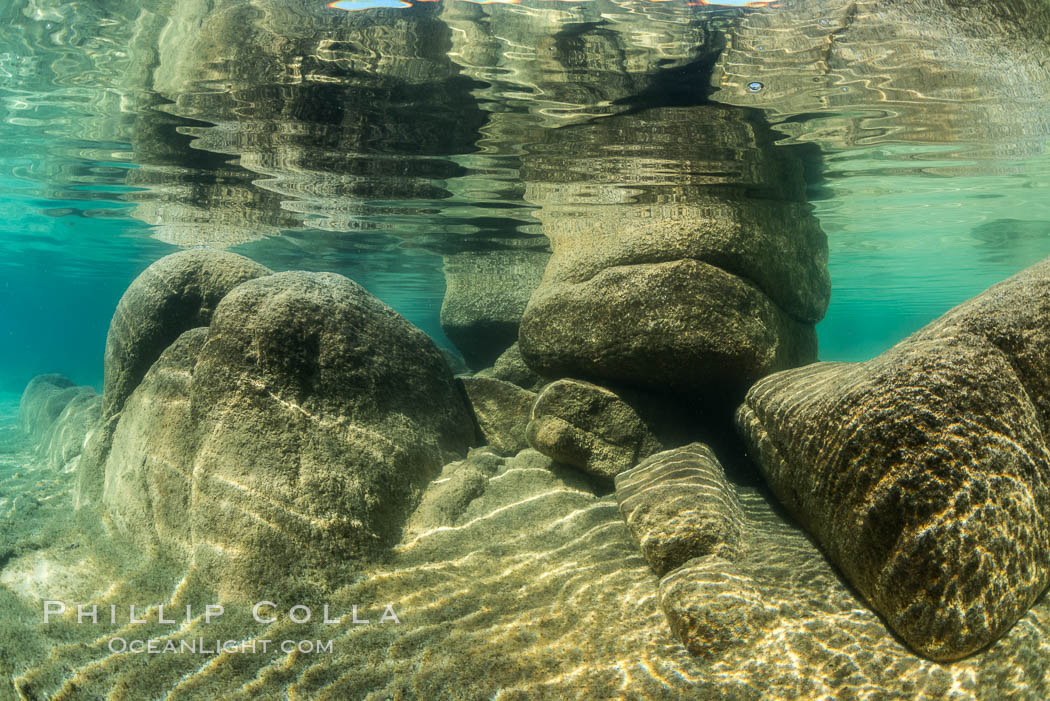 Boulders underwater, Lake Tahoe, Nevada. Lake Tahoe, Nevada, USA, natural history stock photograph, photo id 32333