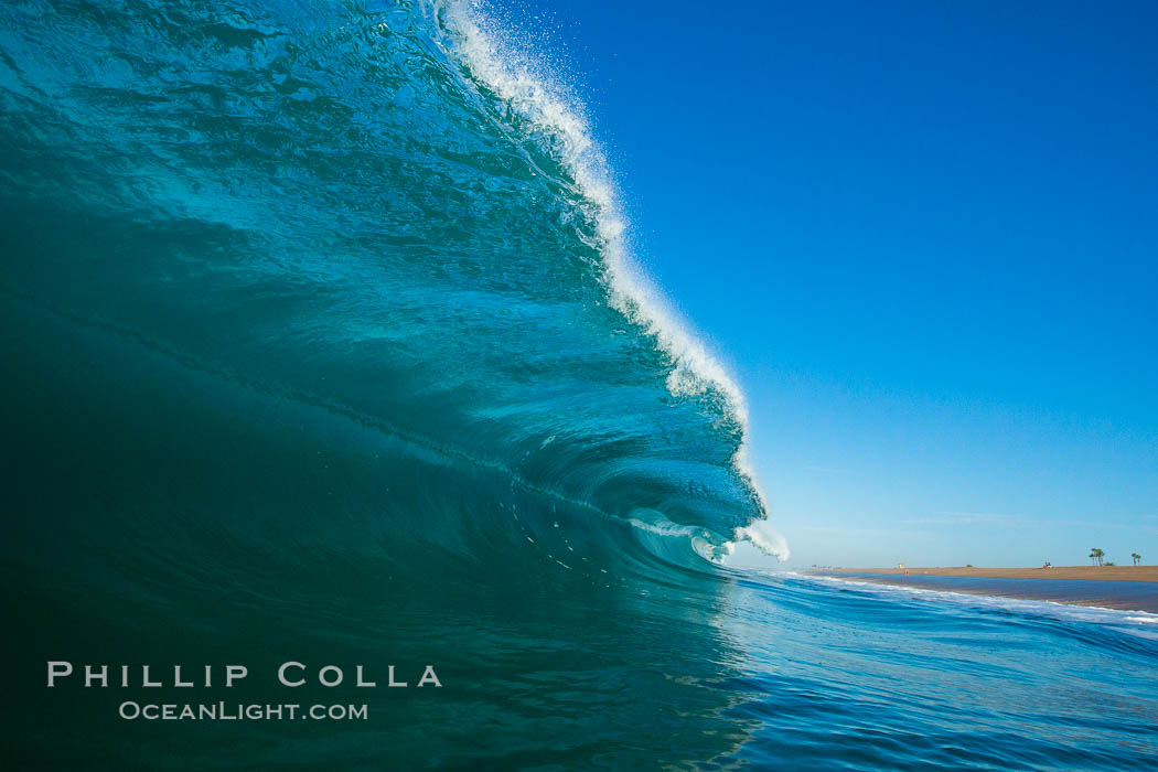 Breaking wave, morning, barrel shaped surf, California. California, USA, natural history stock photograph, photo id 27999