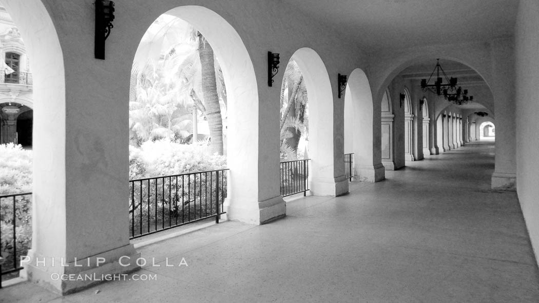 Breezeway and arches, Casa del Prado. Balboa Park, San Diego, California, USA, natural history stock photograph, photo id 23097