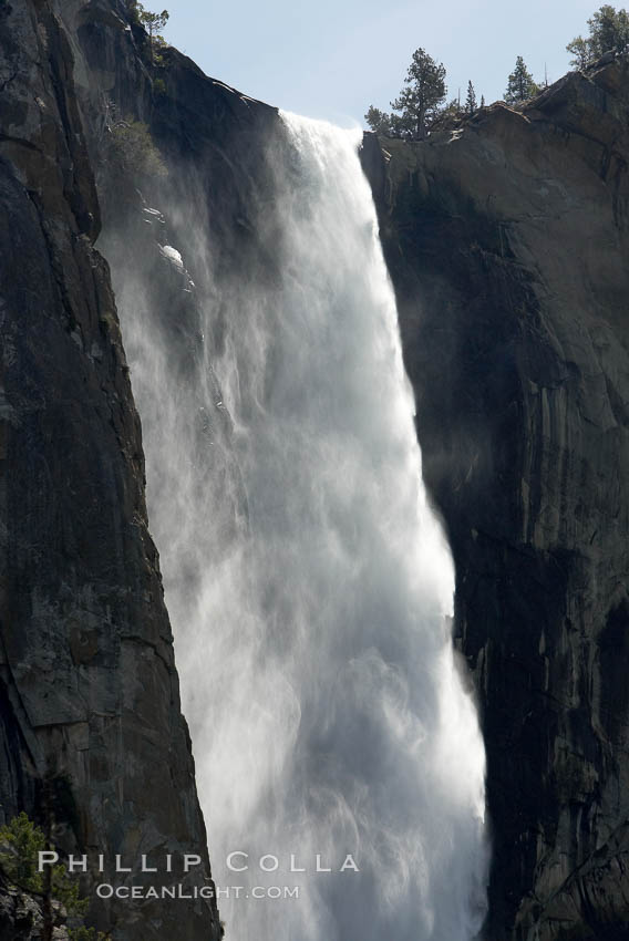 Bridalveil Falls plummets 620 feet (200m).  Yosemite Valley. Bridalveil Falls, Yosemite National Park, California, USA, natural history stock photograph, photo id 16080