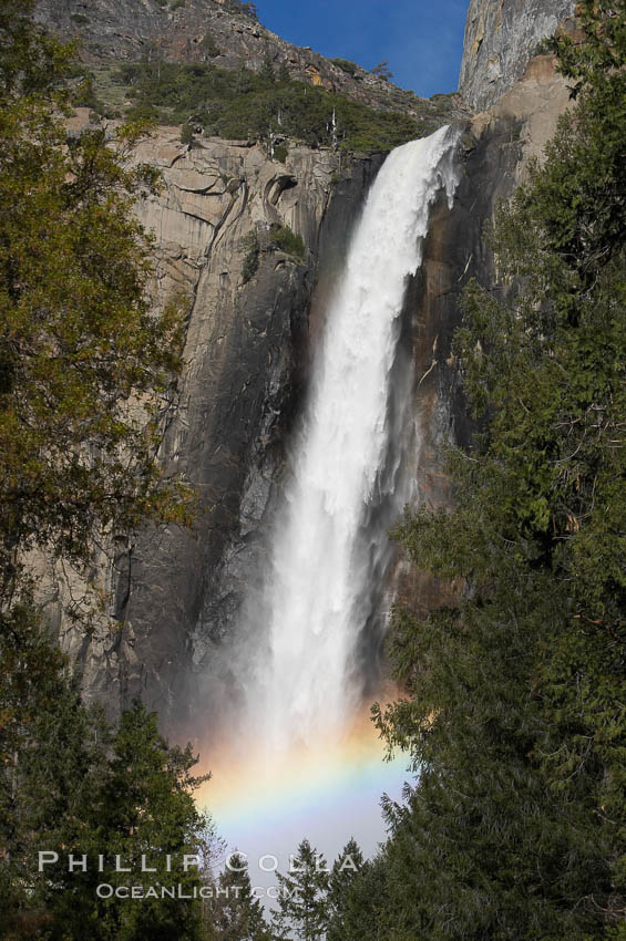 Bridalveil Falls with a rainbow forming in its spray, dropping 620 into Yosemite Valley, displaying peak water flow in spring months from deep snowpack and warm weather melt.  Yosemite Valley.,  Copyright Phillip Colla, image #16160, all rights reserved worldwide.