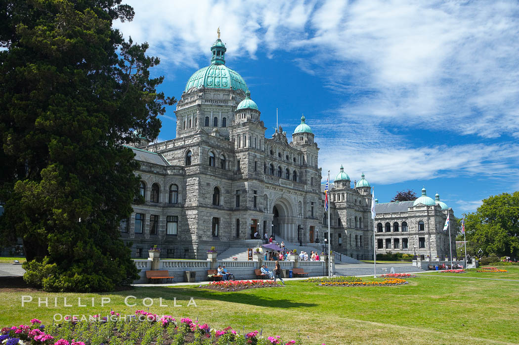 The British Columbia Parliament Buildings are located in Victoria, British Columbia, Canada and serve as the seat of the Legislative Assembly of British Columbia.  The main block of the Parliament Buildings combines Baroque details with Romanesque Revival rustication.,  Copyright Phillip Colla, image #21048, all rights reserved worldwide.