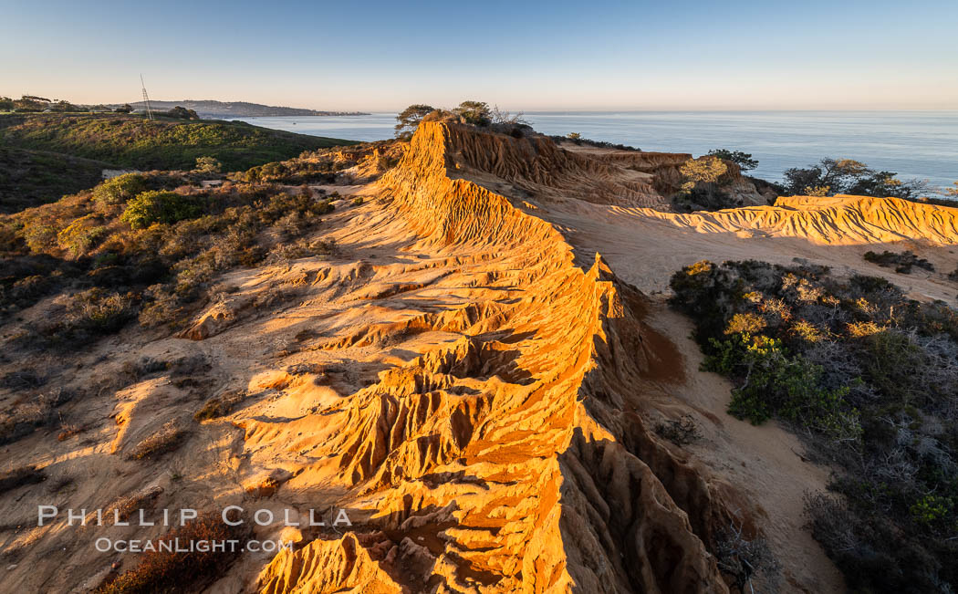 Sunrise over Broken Hill, overlooking La Jolla and the Pacific Ocean, Torrey Pines State Reserve. San Diego, California, USA, natural history stock photograph, photo id 35845