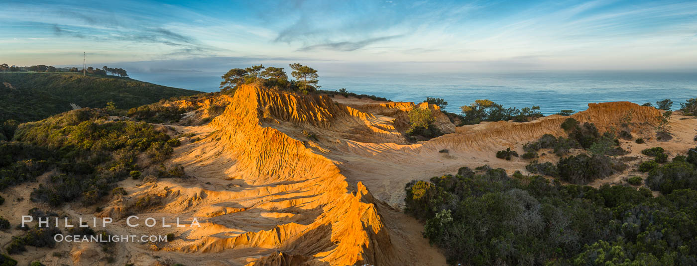 Broken Hill and view to La Jolla, panoramic photograph, from Torrey Pines State Reserve, sunrise, San Diego, California