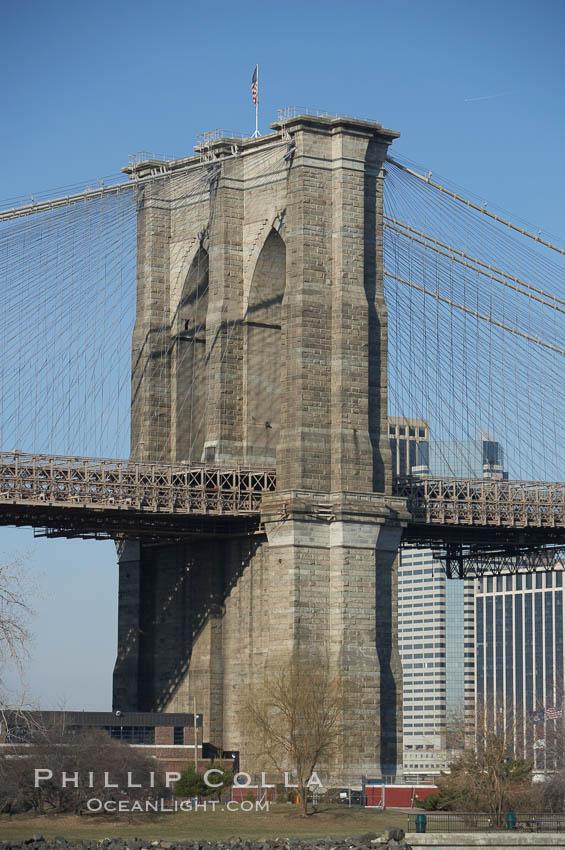Brooklyn Bridge viewed from Brooklyn.  Lower Manhattan visible behind the Bridge, New York City
