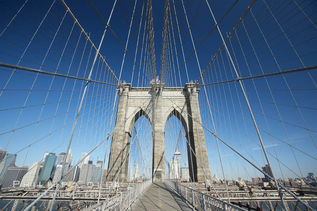 Brooklyn Bridge cables and tower. Brooklyn Bridge, New York City, New York, USA, natural history stock photograph, photo id 11070