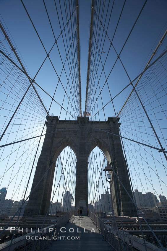 Brooklyn Bridge cables and tower. New York City, USA, natural history stock photograph, photo id 11074