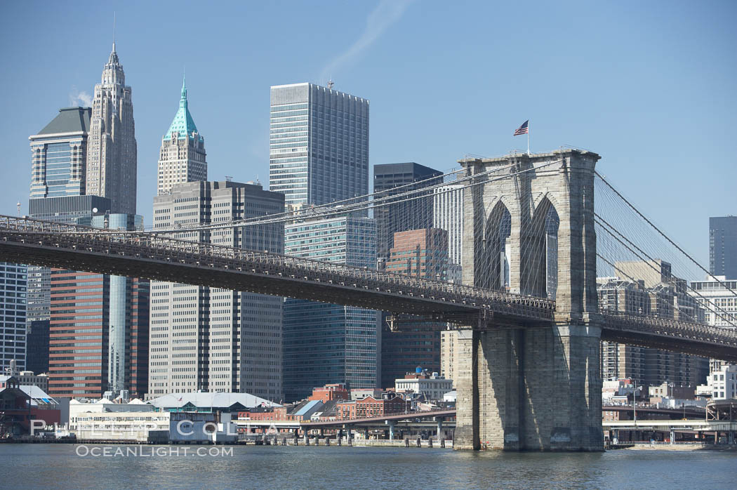 Lower Manhattan and Brooklyn Bridge, viewed from the East River. New York City, USA, natural history stock photograph, photo id 11118