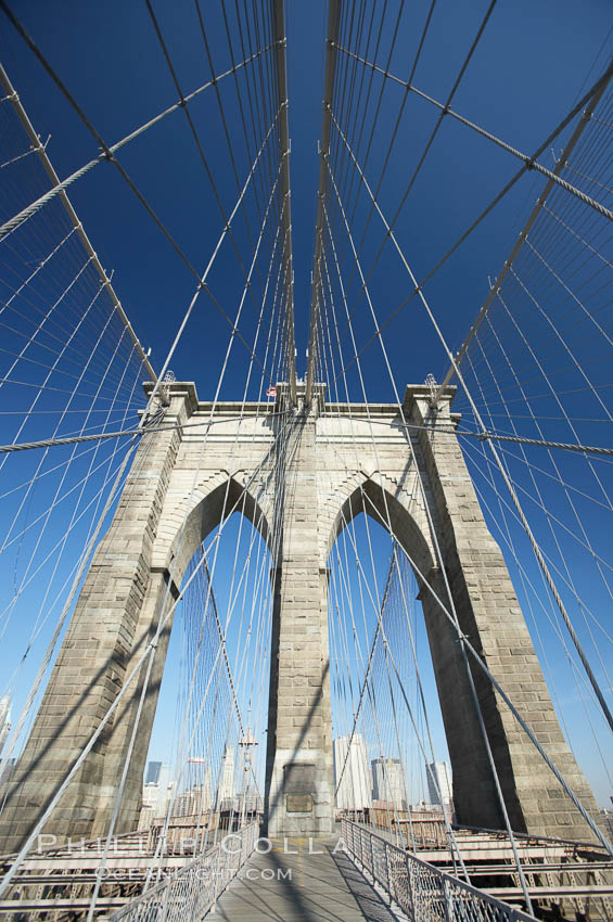 Brooklyn Bridge cables and tower. New York City, USA, natural history stock photograph, photo id 11072