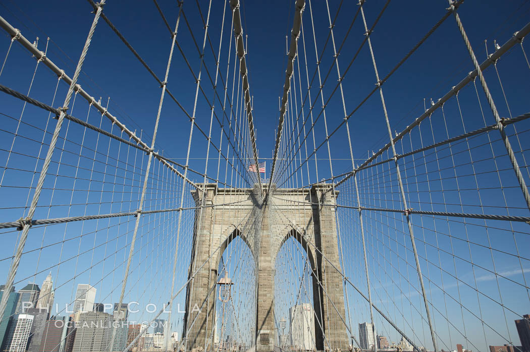 Brooklyn Bridge cables and tower. New York City, USA, natural history stock photograph, photo id 11067