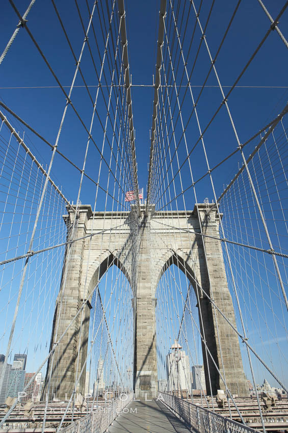 Image 11069, Brooklyn Bridge cables and tower. Brooklyn Bridge, New York City, New York, USA