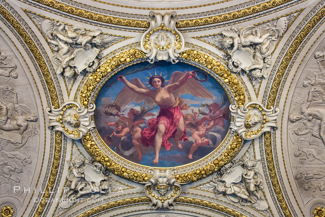 Ceiling art musee du louvre paris natural history for Describe the mural on the ceiling of the stage