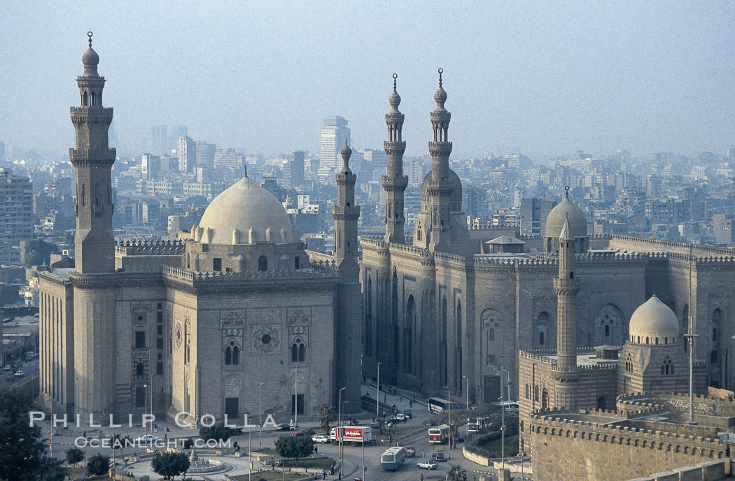 Sultan Hassan Mosque (l) and Mosque of ar-Rifai (r), viewed from the Citadel. Cairo, Egypt, natural history stock photograph, photo id 18495