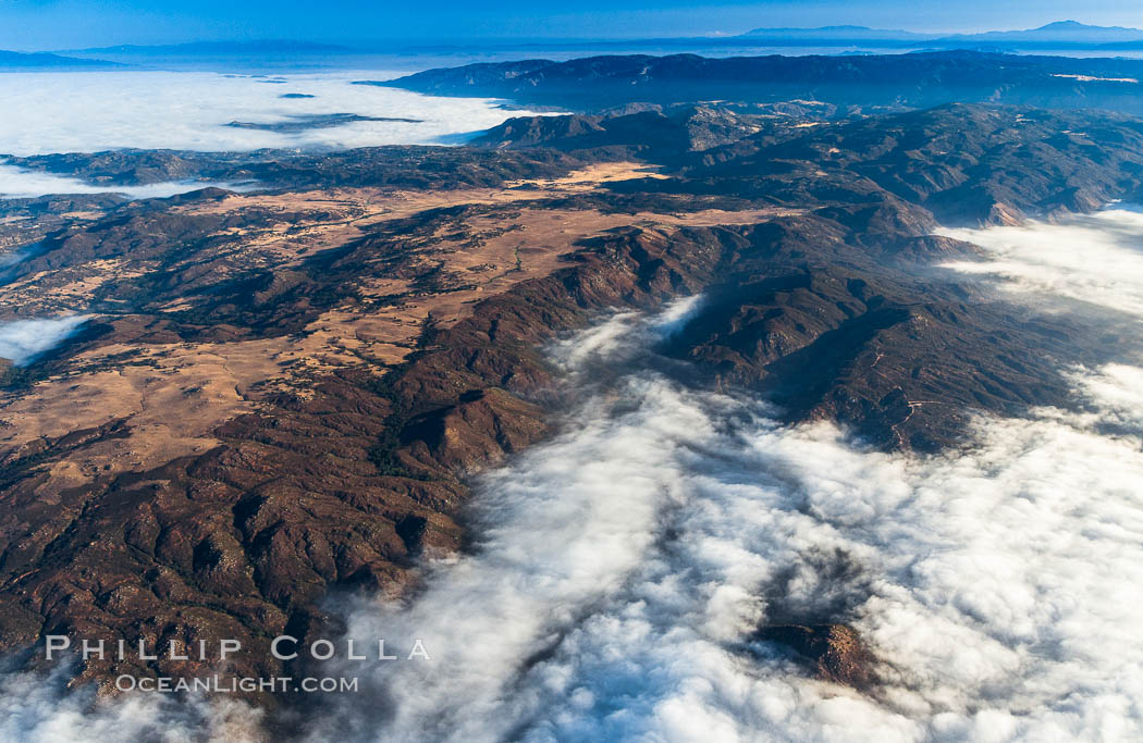 Clouds and mountains, San Diego mountains near Rancho Guejito and Black Mountain, sunrise. San Diego, California, USA, natural history stock photograph, photo id 27914