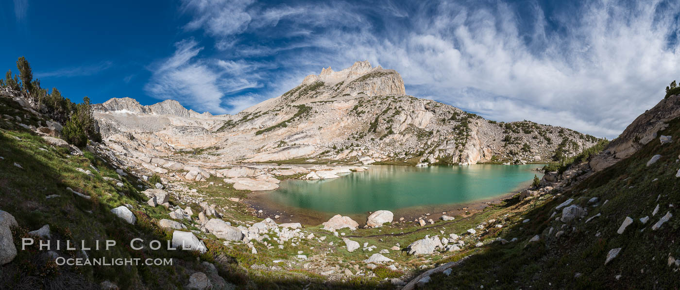 North Peak (12242', center), Mount Conness (left, 12589') and Conness Lake with its green glacial meltwater, Hoover Wilderness. Conness Lakes Basin, California, USA, natural history stock photograph, photo id 31061