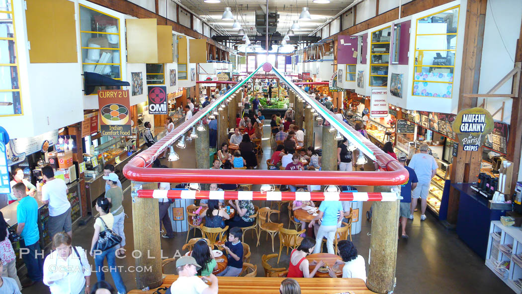 Crowds enjoy the food and offerings at the Public Market, Granville Island, Vancouver.,  Copyright Phillip Colla, image #21210, all rights reserved worldwide.