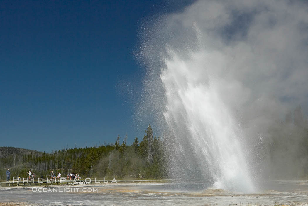 Daisy Geyser erupting with visitors visible in the distance..  Daisy Geyser, a cone-type geyser that shoots out of the ground diagonally, is predictable with intervals ranging from 120 to over 200 minutes.  It reaches heights of 75 feet, lasts 3 to 4 minutes and rarely erupts in concert with nearby Splendid Geyser.  Upper Geyser Basin. Upper Geyser Basin, Yellowstone National Park, Wyoming, USA, natural history stock photograph, photo id 13382