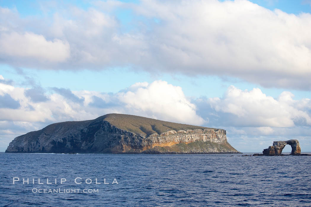 Darwin Island, with the Arch on the right.  Darwin Island is the northernmost of the Galapagos Islands and is home to enormous numbers of seabirds