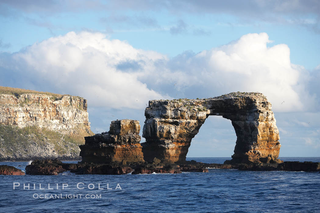 Darwins Arch, a dramatic 50-foot tall natural lava arch, rises above the ocean a short distance offshore of Darwin Island. Darwin Island, Galapagos Islands, Ecuador, natural history stock photograph, photo id 16625