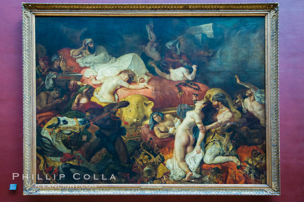 Death of Sardanapalus, La Mort de Sardanapale, oil painting on canvas, 1827 by Eugene Delacroix. Musee du Louvre, Paris, France