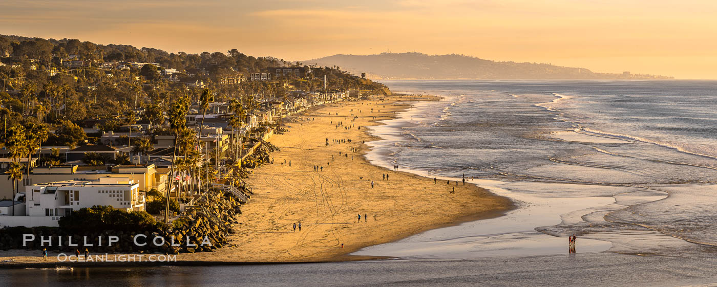 Del Mar Beach at Sunset, northern San Diego County. California, USA, natural history stock photograph, photo id 35099