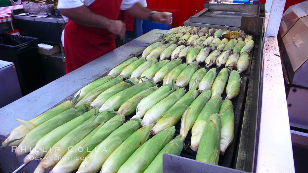 Grilled corn, corn cobs. Del Mar Fair, Del Mar, California, USA, natural history stock photograph, photo id 20863