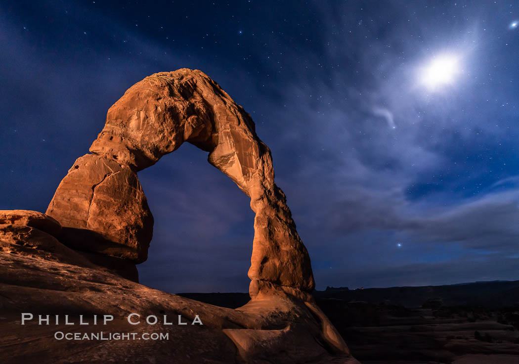Delicate Arch with Stars and Moon, at night, Arches National Park. Utah, USA, natural history stock photograph, photo id 29284