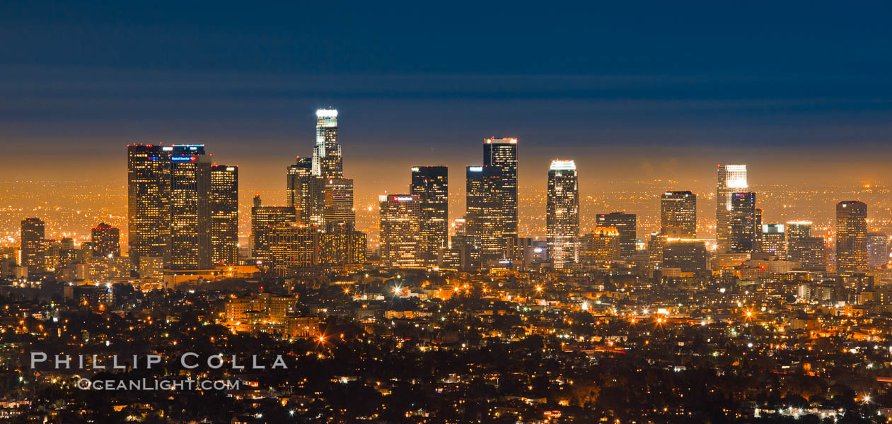 Downtown Los Angeles at night, street lights, buildings light up the night. Los Angeles, California, USA, natural history stock photograph, photo id 27725