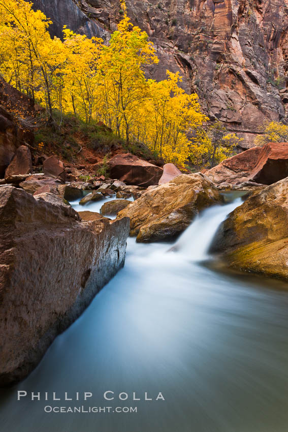 And light crowds virgin river narrows zion national park utah usa