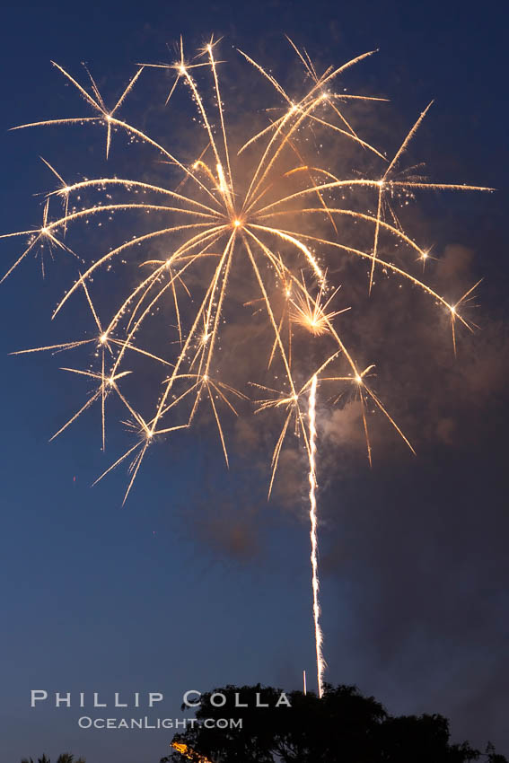 Fireworks, Aviara. Carlsbad, California, USA, natural history stock photograph, photo id 16215