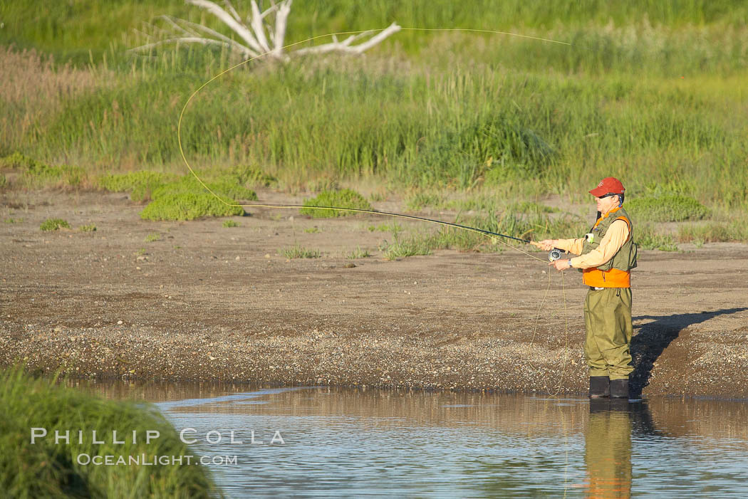 Fly fishing on Silver Salmon Creek. Lake Clark National Park, Alaska, USA, natural history stock photograph, photo id 19091