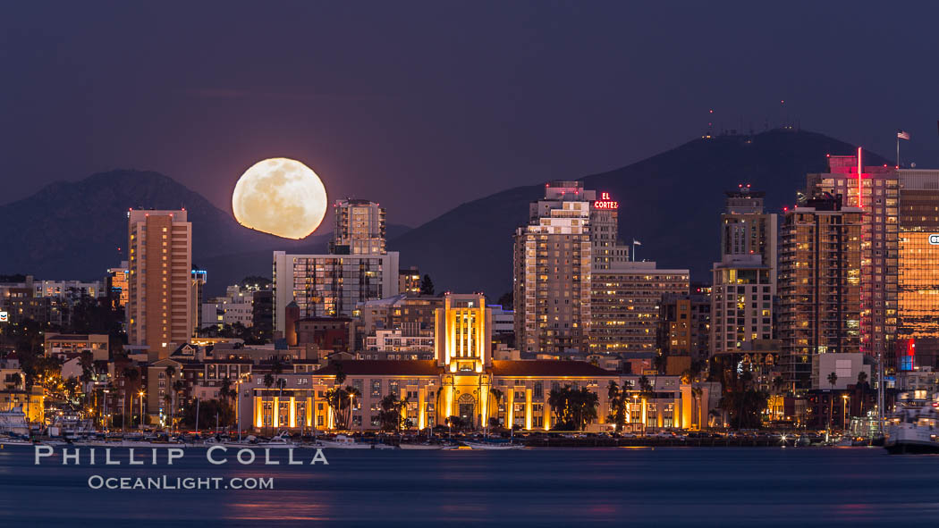 Full Moon rising over San Diego City Skyline, viewed from Harbor Island