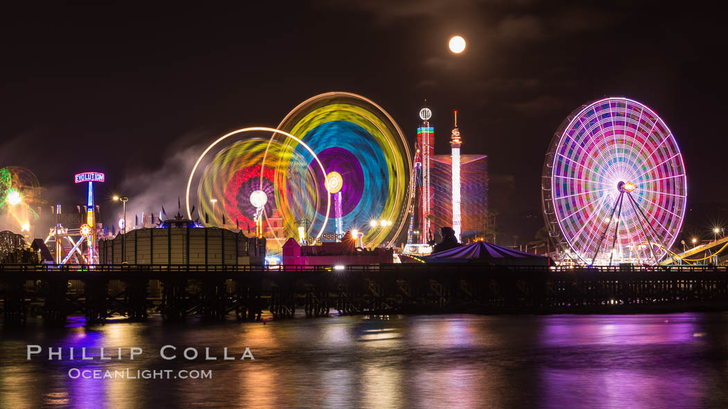 Full moon rising at night over the San Diego County Fair.  Del Mar Fair at night. California, USA, natural history stock photograph, photo id 31031