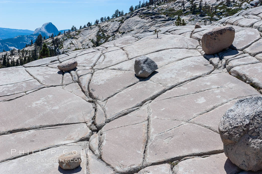 Glacial erratics atop Olmsted Point. Erratics are huge boulders left behind by the passing of glaciers which carved the granite surroundings into their present-day form, Yosemite National Park, California