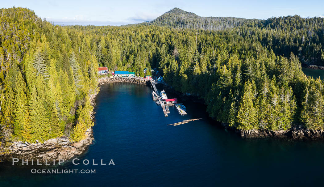 Gods Pocket Resort, on Hurst Island, part of Gods Pocket Provincial Park, aerial photo