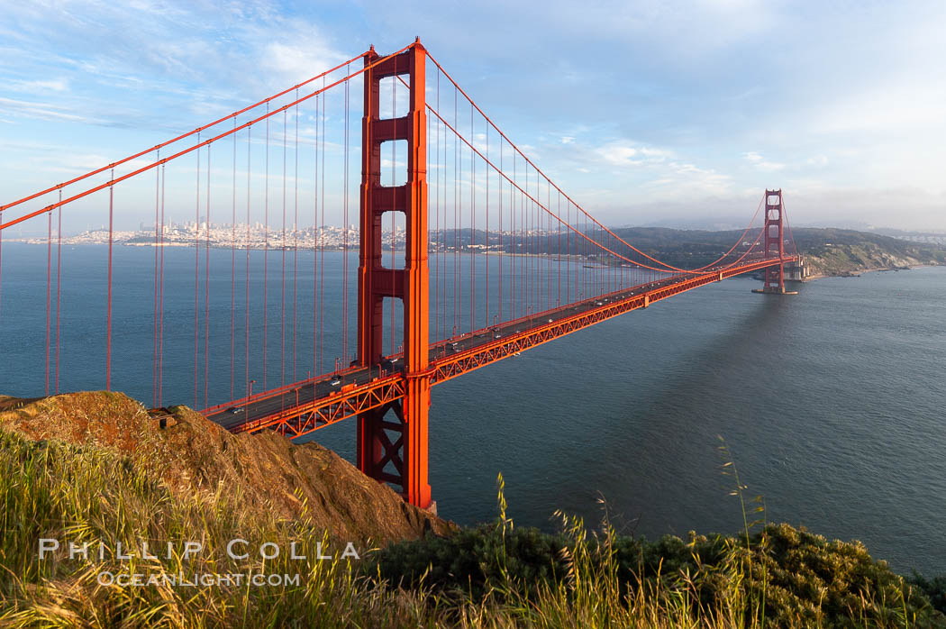 Golden Gate Bridge, viewed from the Marin Headlands with the city of San Francisco in the distance.  Late afternoon. San Francisco, California, USA, natural history stock photograph, photo id 09046
