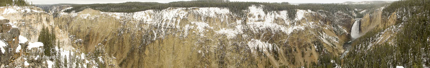 Grand Canyon of the Yellowstone, panorama, from Lookout Point, winter, a composite of 7 individual photographs. Grand Canyon of the Yellowstone, Yellowstone National Park, Wyoming, USA, natural history stock photograph, photo id 22451