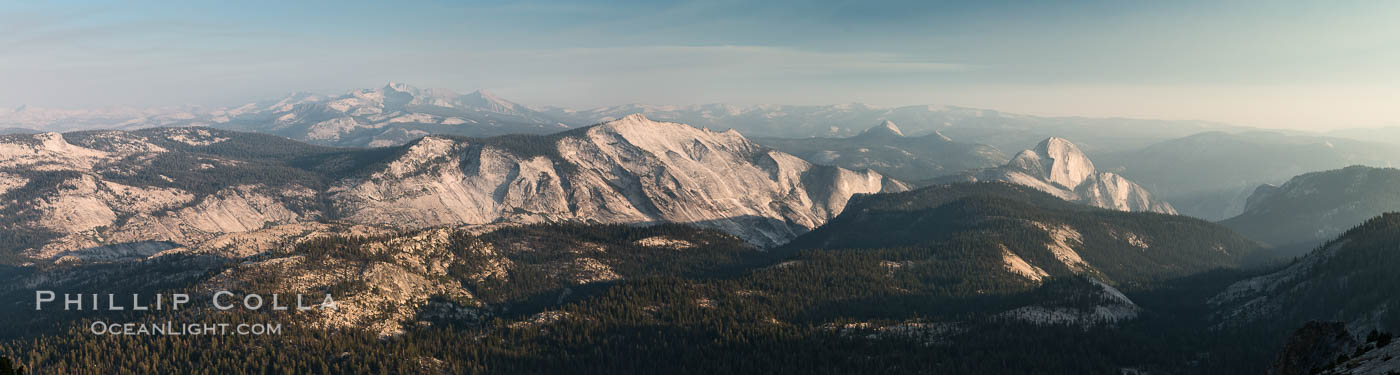 Half Dome and Cloud's Rest from Summit of Mount Hoffmann, sunset, panorama. Yosemite National Park, California, USA, natural history stock photograph, photo id 31200