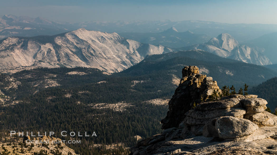 Half Dome and Cloud's Rest from Summit of Mount Hoffmann, sunset, panorama. Yosemite National Park, California, USA, natural history stock photograph, photo id 31191