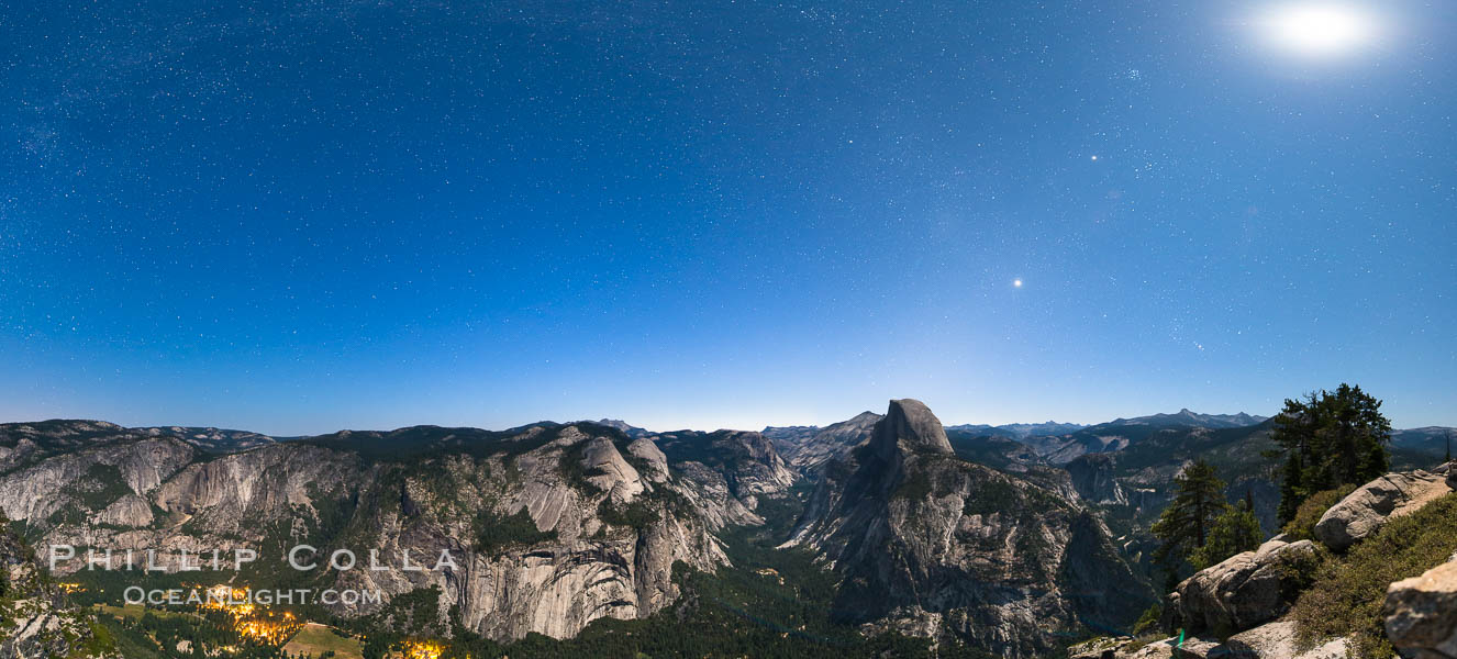 Half Dome and nighttime stars, viewed from Glacier Point. Glacier Point, Yosemite National Park, California, USA, natural history stock photograph, photo id 27951