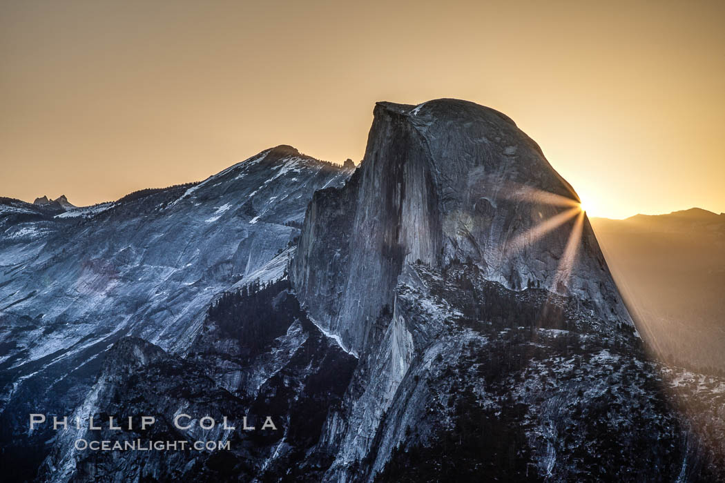 Half Dome at sunrise, viewed from Glacier Point. Yosemite National Park, California, USA, natural history stock photograph, photo id 27737