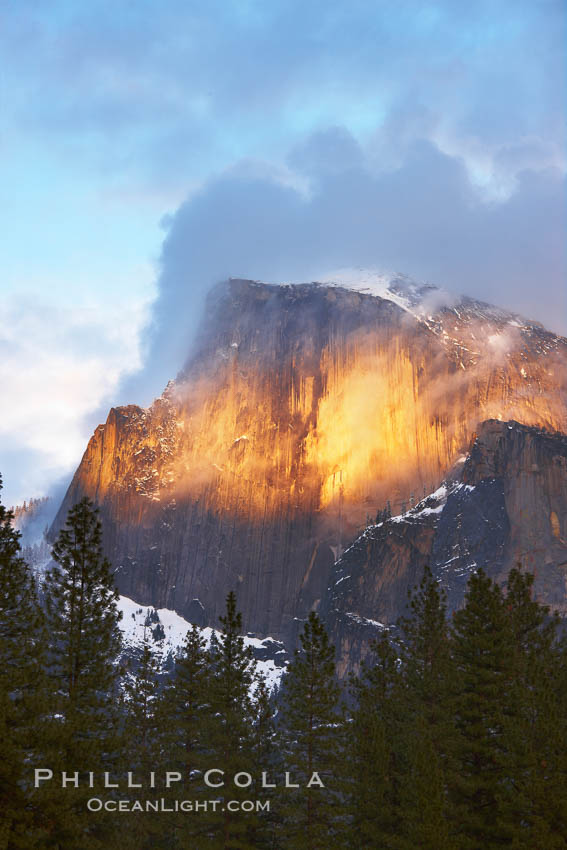 Half Dome and storm clouds at sunset, viewed from Sentinel Bridge. Half Dome, Yosemite National Park, California, USA, natural history stock photograph, photo id 22751
