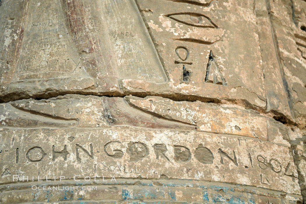 Heiroglyphics and tourist graffiti, Luxor, Egypt